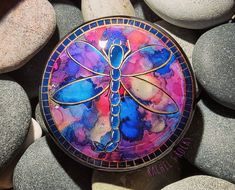 Hand Painting Art, Rock Painting, Art Paintings, Healing Rocks, Painted Rocks, Hand Painted, Dragonfly Art, My Mirror, Shades Of Purple