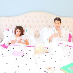 To celebrate the launch of kate spade new york's darling new sleepwear collection (polka dots + swans, oh my!), kate spade invited me to host a girls night in. So I grabbed my best girl, slip… Sleepover Party, Slumber Parties, Teen Girl Rooms, Kid Styles, Dream Bedroom, Mommy And Me, Girls Night, Room Inspiration, Baby Room
