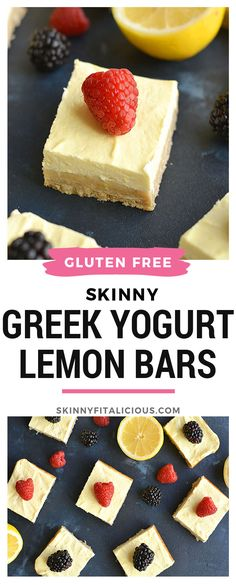 These creamy bars have a gluten free shortbread crust with a stevia sweetened Greek yogurt custard layer on top that's bursting with lemon flavor! These lightened up bars are baked to perfection for the ultimate low calorie Low Calorie Sweets, Low Calorie Baking, Low Calorie Fruits, Low Calorie Cake, No Calorie Foods, Healthy Sweets, Low Calorie Recipes, Healthy Dessert Recipes, Low Calorie Puddings