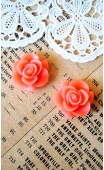 Lot de 2 Roses 16 mm couleur rose pour bijoux et scrapbooking