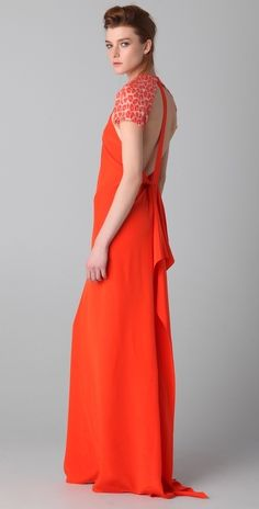 3.1 Phillip Lim T Back Gown with Leopard Sleeves thestylecure.com