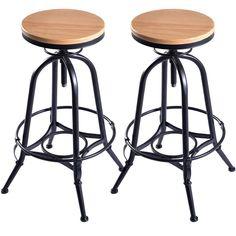 Bar stools set of 2 vintage industrial wood top metal design pub stool chairs adjustable swivel Vintage Bar Stools, Industrial Bar Stools, Vintage Industrial Furniture, Industrial Metal, Industrial Bathroom, Pub Stools, Bar Stool Chairs, Wood Bar Stools, Room Chairs