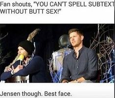 """Omg Jared looks like """"I just found a new favorite phrase"""" and Jensen looks like """"shit, Jared has a new favorite phrase. Thanks a lot."""""""