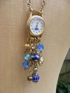 Great idea for a watch necklace.