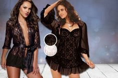 3pc Lace, Satin or Sheer Sleepwear