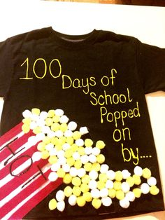 100 days of school popped on by  Tshirt  Craft balls Red and white craft fabric  Glue paint for shirt Hot glue