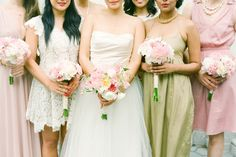 I love how all these dresses have in common is their pastel and romantic feel. Mix-matched bridesmaid dresses are the best, and this proves how so many different dresses can come together.