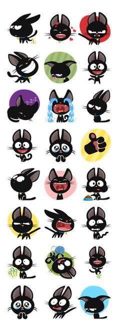 Sticker set for the social network Fotostrana.ru by Anna Denisova, via Behance: