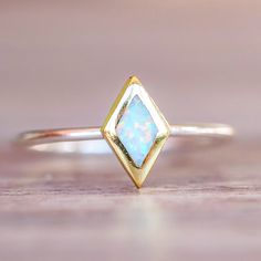 Two Tone Diamond Opal Ring | Bohemian Gypsy Jewelry | Indie and Harper – www.indieandharper.com