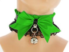 Black green satin lace Kitten Collar Kitten by FashionForWomen