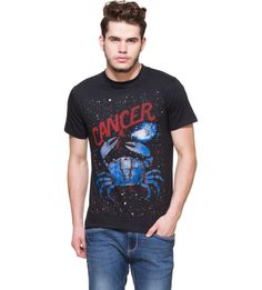 Cancer Black Graphic T-shirt Boast your zodiac sign by getting this black graphic tee and capture your Cancerian spirit in style. Black T-shirt. Half sleeves. Ribbed round neck. Cancer graphic print at front. Club this tee with pair of distressed denims or chino shorts and boat shoes.