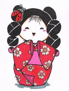 Kawaii Kokeshi Colored by ~suzannedcapleton on deviantART