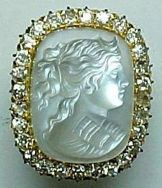 turn of the century carved moonstone cameo of the goddess Diana