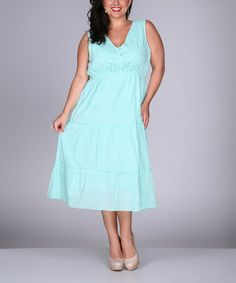 Look what I found on #zulily! Turquoise Eyelet Sleeveless Dress - Plus by Ananda's Collection #zulilyfinds