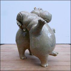 Cute Hippo, Baby Hippo, Pottery Animals, Ceramic Animals, Pottery Sculpture, Sculpture Clay, Ceramic Pottery, Ceramic Art, Modern Art Movements