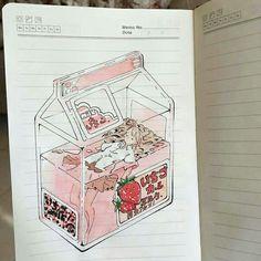 you never know what strawberry milk really is man weiß nie, was Erdbeermilch wirklich ist Pretty Art, Cute Art, Art Et Design, Notebook Art, Arte Sketchbook, Kawaii Art, Aesthetic Art, Cute Drawings, Art Sketches