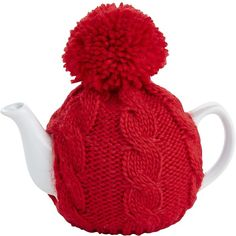 Pier 1 Imports Red Sweater Pom-Pom Teapot ($15) ❤ liked on Polyvore featuring home, kitchen & dining, teapots, red, tea pot, red stoneware, stoneware teapot, pier 1 imports and red tea pot