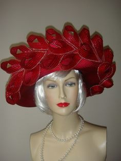 1980's Magnificent Red and Rhinestone Trimmed Hat