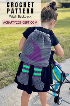 Learn step-by-step how to make this spooktacular witchy crochet backpack just in time for Halloween. Free tutorial includes video, photo and written instruction. Holiday Crochet, Halloween Crochet, Easy Halloween, Halloween Crafts, Halloween Stuff, Quick Crochet Patterns, Crochet Patterns For Beginners, Crochet Ideas, Crochet Tutorials