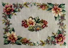 This list is for a rose panel PREWORKED needlepoint canvas. Cross Stitch Rose, Cross Stitch Flowers, Cross Stitch Charts, Cross Stitch Patterns, Needlepoint Kits, Needlepoint Canvases, Beaded Embroidery, Hand Embroidery, Floral Border