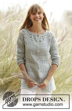 "#Crochet DROPS jacket with lace pattern and round yoke in ""Safran"". The piece is worked top down. Free Pattern"