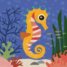 Framed Art Print: Ocean Friends, Samuel by Jenn Ski : Stretched Canvas Prints, Framed Art Prints, Framed Wall, Painting For Kids, Art For Kids, Sea Life Art, Ski Posters, Animals For Kids, Art Lessons