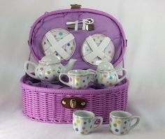 Large Dollies Doll Tea Set/ Basket Gumdrops Design by Delton Christmas Gift List, Xmas Gifts, Gum Drops, Tea Sandwiches, Sugar And Spice, Shades Of Purple, Kids Playing, Tea Party, Basket