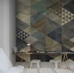 Rebel Walls Wallpaper Art Quadrangle Blue I Remodelista Inspiration Wand, Interior Inspiration, Interior Walls, Interior Design, Wallpaper Companies, Inspirational Wallpapers, Wall Finishes, Geometric Wall, Wall Treatments