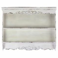 """Weathered wood wall shelf with 2 tiers and scalloped trim.      Product: Wall shelfConstruction Material: WoodColor: Weathered white Features: Two tiers Dimensions: 25.59"""" H x 32.68"""" W x 5.12"""" DCleaning and care: Wipe with a damp cloth"""