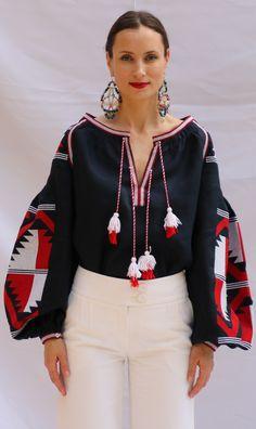 Navy Vita Kin style Vyshyvanka linen blouse V neck red white embroidery. size XS-XXL VB054