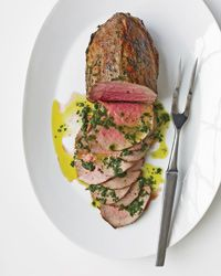 Adapted from a recipe in author Patricia Wells's latest cookbook, Salad as a Meal, this rosy roast beef with basil oil seems decadent but contains only two grams of saturated fat per serving.