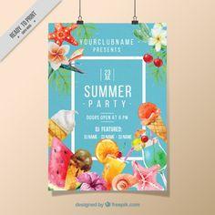 水彩アイスクリームやフルーツ党のポスター 無料ベクター