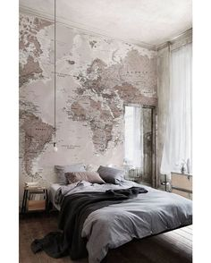 Neutral shades world map wallpaper mural wallpaper bedrooms and soft neutrals work a dream in this bedroom this world map wallpaper adds a stylish and elegant look to any room gumiabroncs Choice Image