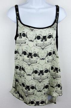 Rare Royal Bones by Tripp Beige & Black Skull Studded Top Shirt M/L