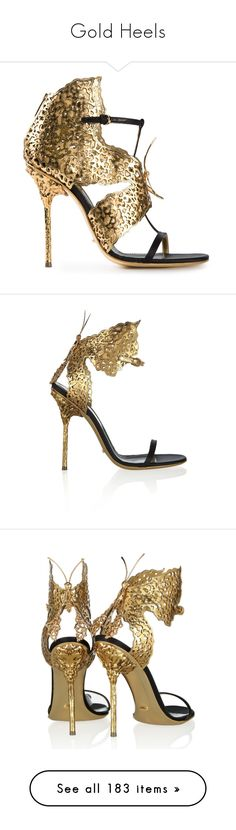 """""""Gold Heels"""" by sakuragirl ❤ liked on Polyvore featuring shoes, pumps, heels, gold high heel shoes, high heeled footwear, patent leather shoes, patent pumps, gold pumps, sandals and high heels"""