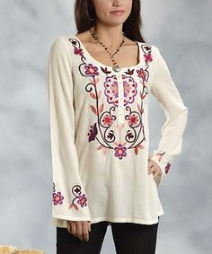 Another great find on #zulily! Roper White Floral Scoop Neck Top - Women by Roper #zulilyfinds