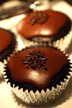 Vanilla Pudding Filled Chocolate Cupcake