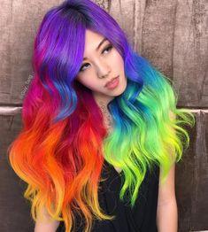"Guy Tang on Instagram: ""#coachella ready #neon #Rainbow #unicorn hair with @hieucow"""