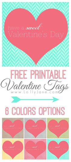 FREE printable Valentine's tag!! Matches any cute decor or treat you're gifting this year! {lollyjane.com}