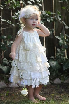 Lace Flowergirl Dress - Country Shabby Chic Vintage Linen and Lace Dress - Elastic or Adjustable Top - Custom Order size 3T - 4T - 5T on Etsy, $69.00