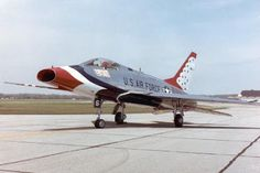 "Thunderbirds F-100 Super Sabre. Also known as ""The Hun"""