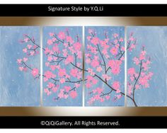 """""""Misty Blossoms"""" by QIQIGallery 48""""x24"""" Original Painting, $385.00"""