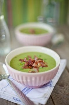 Pea, Mint & Pancetta Soup.  A refreshing take on split pea soup.  Even better the next day.