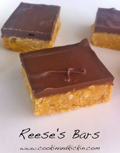 Cookin' And Kickin': No-Bake Reese's Bars No Bake Desserts, Just Desserts, Delicious Desserts, Dessert Recipes, Yummy Food, Bar Recipes, Delicious Dishes, Yummy Recipes, Healthy Recipes
