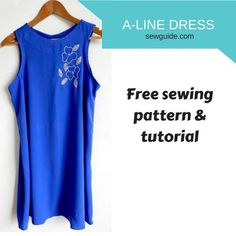 Make an a-line dress {free sewing pattern & tutorial} - sew guide Dress Sewing Patterns, Sewing Patterns Free, Free Sewing, Sewing Tutorials, Clothing Patterns, Free Pattern, Pattern Sewing, Diy Clothes Closet, Diy Clothes And Shoes