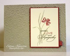 Lovely color combo in Selene's sympathy card. The colors are Sahara Sand, Soft Suede, & Primrose Petals. She also used Love & Sympathy plus Lacy Brocade embossing folder in her CAS card. Asian Cards, Stamping Up Cards, Rubber Stamping, Scrapbook Cards, Scrapbooking, Embossed Cards, Get Well Cards, Sympathy Cards, Creative Cards
