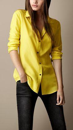 silk-epaulette-detail-shirt Burberry