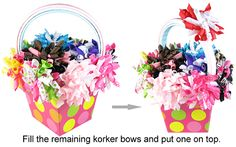 Hair Bow Gift Basket Tutorial.