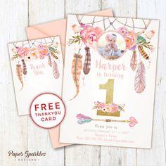 First birthday invitation dream catcher by PaperSparkleDesigns