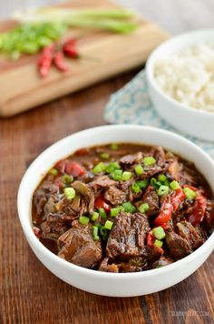 Cooked Spicy Asian Beef - skip ordering take out with this amazingly tasty set it and forget it slow cooker meal.Slow Cooked Spicy Asian Beef - skip ordering take out with this amazingly tasty set it and forget it slow cooker meal. Slow Cooker Beef, Slow Cooker Recipes, Crockpot Recipes, Cooking Recipes, Healthy Recipes, Asian Recipes, Lamb Recipes, Savoury Recipes, Healthy Dishes